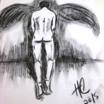 Fallen Angel, Male Nude Drawing, Figurative Art. 9x12 in. Charcoal and Paper. Free Shipping!