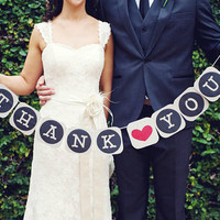 Thank You Banner Wedding Banner Wedding Day Banner Wedding Bunting Garland Thank You Sign Photo Booth Prop Wedding Reception Decoration
