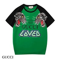 GUCCI New fashion letter tiger print couple top t-shirt Green