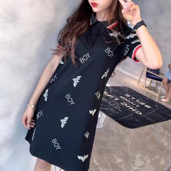 """Boy London"" Women Casual Fashion Hot Fix Rhinestone Letter Eagle Logo Short Sleeve Lapel T-shirt Polo Shirt Dress"