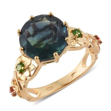 Teal Fluorite, Russian Diopside,  Sterling Silver Floral Ring