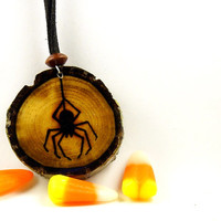Spider Web Wood Burned Pendant| Double Sided Black Walnut Wooden Pendant| Seasonal Halloween Wood Necklace| Spooky Rustic Necklace Pendant