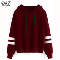 Dotfashion Drop Shoulder Varsity Striped Hooded Sweatshirt Women Long Sleeve Pullovers Autumn Winter Sweatshirt