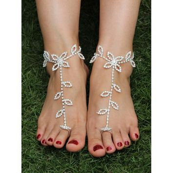 Silver Rhinestone Floral Leaves Drop Barefoot Sandals