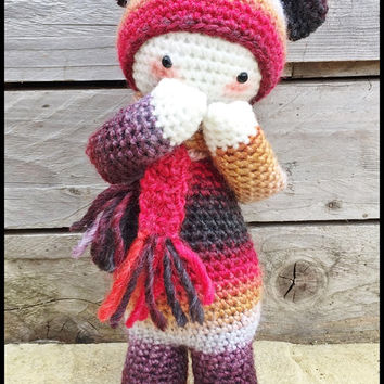 Handmade Crochet Amigurumi Firefly Bina Bear Doll - multicoloured -Lalylala- cute Gift idea - 11 inches tall