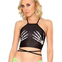 Black Skeleton Hands Lace Up Rave Wrap Crop Top