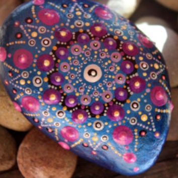 mandala stone, painted rock, pyramid stone, pyramid rock, triangle rock, unique rock, orange blue stone, handmade gift, special gift