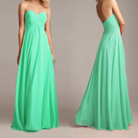 Mint long chiffon bridesmaid dress , sweetheart strapless prom dress , Ball gown , evening party formal dress . Custom made 2014