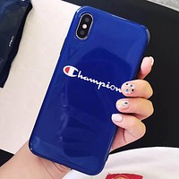 Champion Tide brand all-inclusive glossy soft shell iphone Xs max phone case Blue