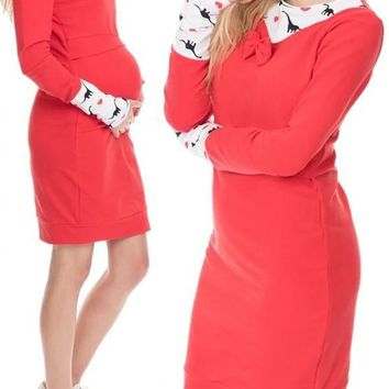 New Red Flowers Print Bow Round Neck Long Sleeve Casual Maternity Mini Dress