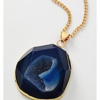 Agate and Druzy Necklace in Navy Blue and Gold
