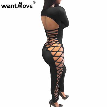 NEW 2018 summer style lace up sexy jumpsuit skinny jumpsuits and rompers for women