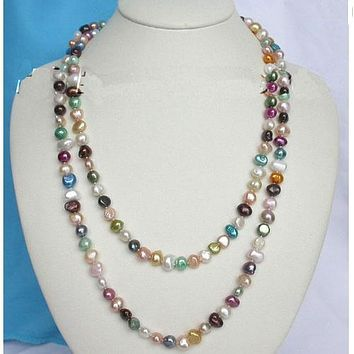 Baroque Women's Genuine Freshwater Rainbow Colors Long Pearl Necklace Jewelry