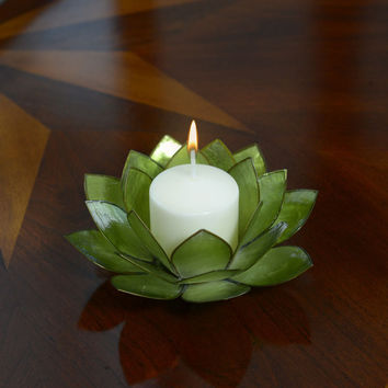 Lotus Flower Candle Holder With Jewel Encrusted Case - Green