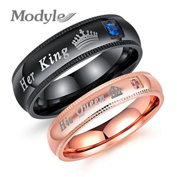 Modyle New DropShipping Black and Rose Gold Color CZ Stone Her King and His Queen Wedding Ring Jewelry for Men Women Hot Sale