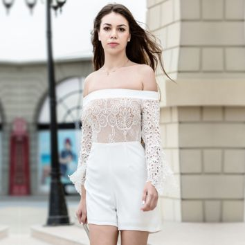 Fashion lace strapless white with shorts Rompers women back zipper