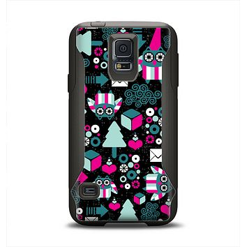 The Pink & Teal Owl Collaged Vector Shapes Samsung Galaxy S5 Otterbox Commuter Case Skin Set