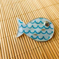 Fish brooch, blue fish pin, big brooch, cute accessories, wave pins, blue fish jewelry, hat pins, bag brooches, best friend birthday gift
