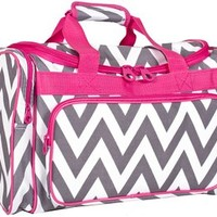 Ever Moda Pink Grey Chevron Duffle Bag 19-inch