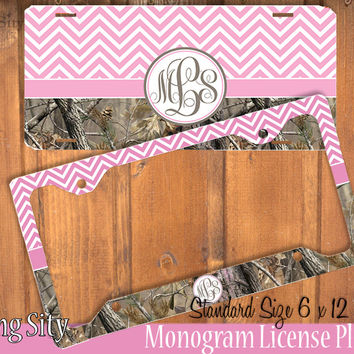 Pink Chevron Camo Monogram License Plate Frame Holder Metal Wall Sign Tags Personalized Custom Vanity Plate