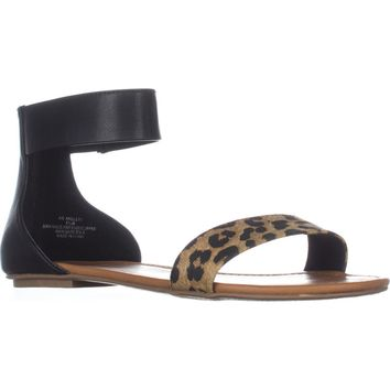 AR35 Keley Ankle Strap Flat Sandals, Cheetah/Black, 7.5 US