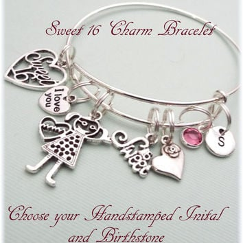 Sweet 16 Gift, Sweet 16 Charm Bracelet, Gift for 16th Birthday, 16th Birthday Gift, Personalized Gift, Personalized Gift for 16th Birthday
