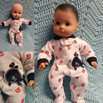 "Baby doll clothes ""Whale Ahoy!"" (15 inch) doll outfit Will fit Bitty Baby®  boy sleeper whale nautical  M2"