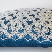 Decorative Throw Pillow In Blue Silk White Sequin Embroidery Accent Pillow Gift