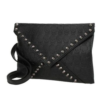STUDDED PUNK ROCK CLUTCH BAG