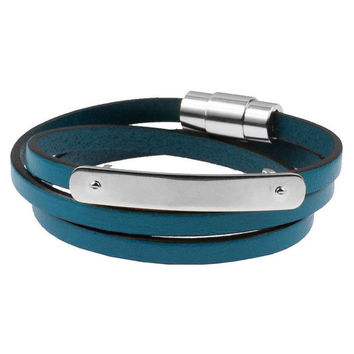 *Mister Trilogy Leather Bracelet  - Turquoise & Chrome