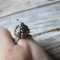 Sea Urchin, Pinkie Ring, White Copper, Recycled Metal, Eco-Friendly Ring, Ocean Jewelry,  Small Silver Ring, Nature Jewelry,