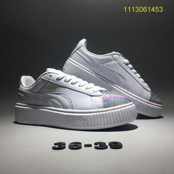 fenty puma by rihanna women sport casual fashion rainbow sequin thick bottom plate shoes small white shoes piatforam sneakers
