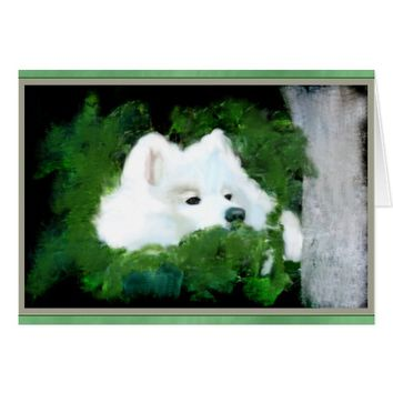 Blank Custom Greeting Card; Samoyed in the Garden Card
