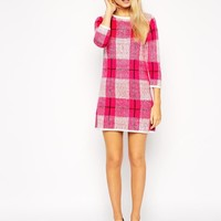 Fashion Union   Fashion Union Knitted Dress In Brushed Check at ASOS