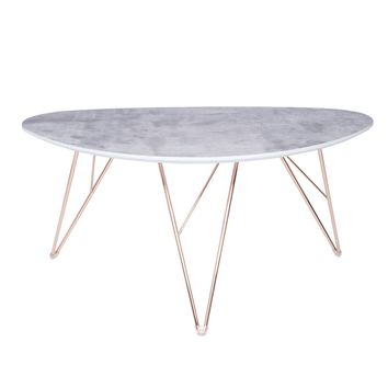 "Enzio 24"" Coffee Table in Gray and Gold Plated Stainless Steel"