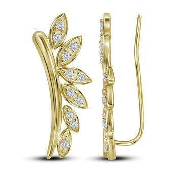 10kt Yellow Gold Women's Round Diamond Floral Climber Earrings 1-4 Cttw - FREE Shipping (USA/CAN)