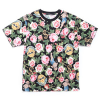 ANGELIC RICH FLORAL TEE / BLACK