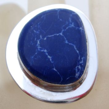 Sterling Silver Blue Denim Lapis Ring Size 6