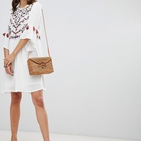 Y.A.S Embroidered Dress With Tassels at asos.com