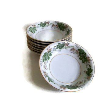 Vintage Noritake China,  Berry Dishes,  Daphne Pattern,  1950's,  Discontinued Set of 8, Green Ivy and Gold, 1952-1960