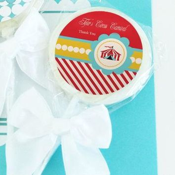 Circus Carnival Party Personalized Lollipop Favors