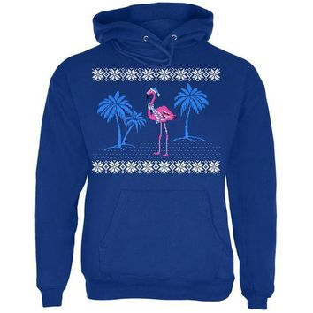 PEAPGQ9 Flamingo Winter Ugly Christmas Sweater Mens Hoodie