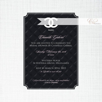 Shop black and white bridal shower invitations on wanelo instant download chanel inspired baby or bridal shower invitatio filmwisefo