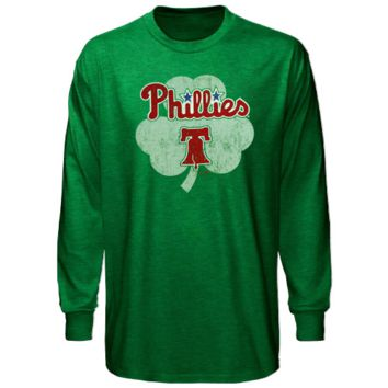 Majestic Threads Philadelphia Phillies St. Patrick's Day Tri-Blend Long Sleeve T-Shirt - Green