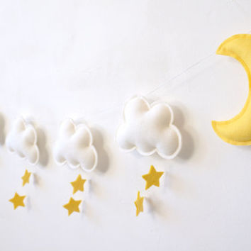 Cloud Star Moon Garland, , Nursery Garland, Gender Neutral Baby, baby room wall decor, Gender Neutral Nursery, nursery wall decor