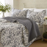 Twin Size 100% Cotton 2 Piece Quilt Set with Coverlet & Sham in Gray White Floral Pattern
