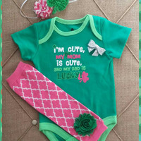 St Patricks Onesuit Outfit - Baby Girl - Daddy's lucky - Shamrock - Green - Bow tie - Legwarmers - Photos - First St Patricks