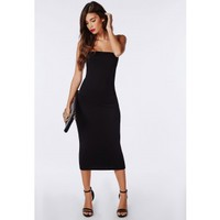 Strapless Jersey Bodycon Midi Dress Black - Dresses - Bodycon Dresses - Missguided