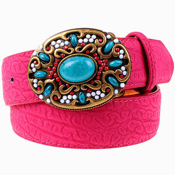 Fashion women leather belt Bohemian style Gemstone Beads belt turquoise stones belts arabesque pattern metal Belt gift for women