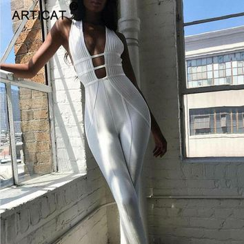Articat Cotton Sexy Hollow Out Bodycon Jumpsuit Women Sleeveless Backless Skinny Rompers Womens Jumpsuit Summer Party Playsuit